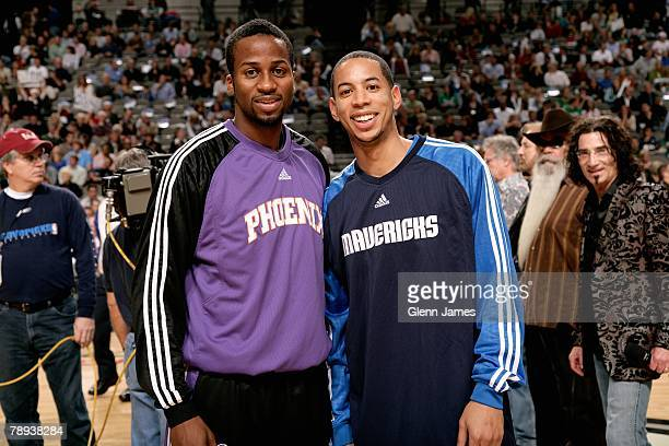 Former college teammates at Wisconsin Alando Tucker of the Phoenix Suns and Devin Harris of the Dallas Mavericks pose together before the game on...