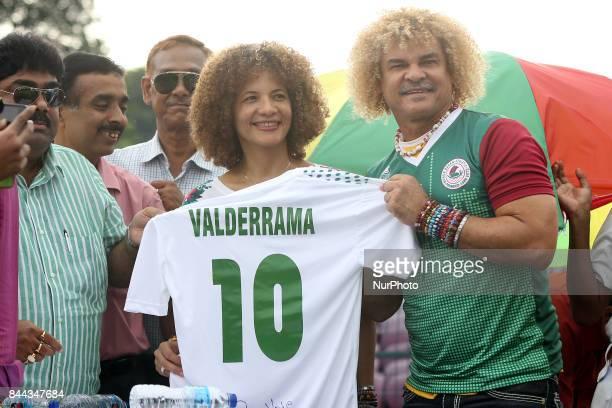 Former Colombian footballer Carlos Valderrama and his wife Elvira Redondo visit Mohanbagan Club and meet to Indian Footballers Colombian former World...