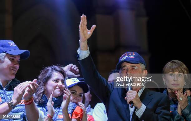 Former Colombian president and current senator Alvaro Uribe speaks during the closing rally of his political party Centro Democratico's campaign for...