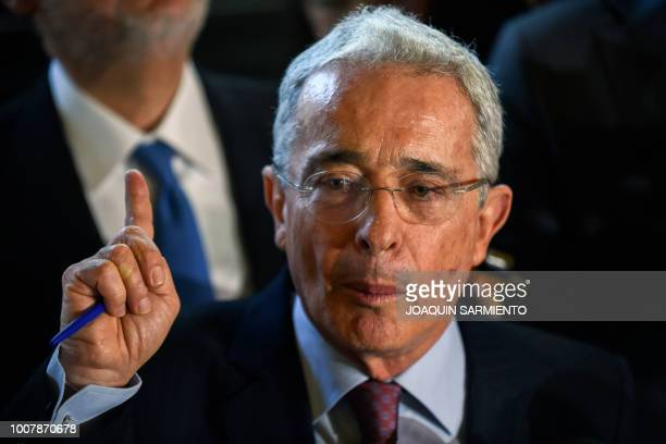 Former Colombian president and senator Alvaro Uribe Velez answers questions during a press conference at his residence in Rionegro Antioquia...