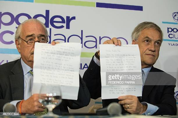 Former Colombian president Andres Pastrana and former Chilean President Sebastian Pinera show a letter from jailed opposition leader Leopoldo Lopez...