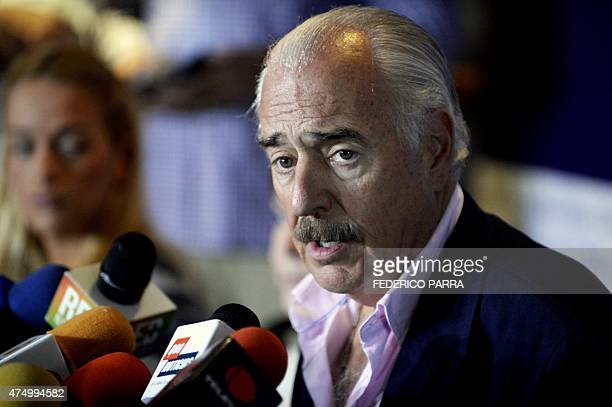Former Colombia's President Andres Pastrana speaks during a press conference with Bolivia's counterpart Jorge Quiroga Venezuelan opposition...