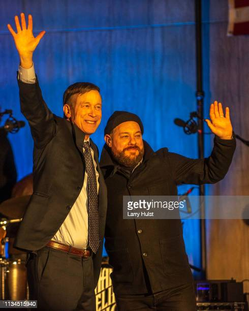 Former Colorado governor John Hickenlooper announces he is running for president with singer Nathaniel Rateliff joining him onstage in 2020 in on...