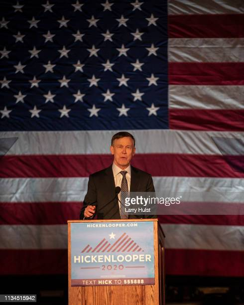 Former Colorado governor John Hickenlooper announces he is running for president in 2020 in on March 7 2019 in Denver Colorado