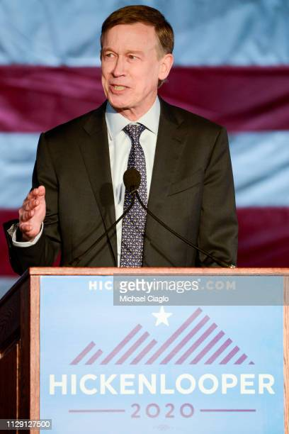 Former Colorado governor John Hickenlooper speaks to supporters at a rally to kick off his presidential campaign outside the Colorado Capital on...