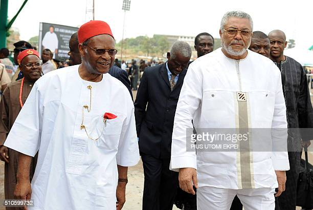 Former Commonwealth SecretaryGeneral Emeka Anyaoku and former Ghanaian President Jerry Rawlings arrive to attend the national interdenominational...