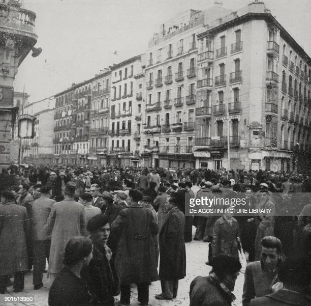 Former Communist militants in the streets of Madrid after the entry of Francoist troops Spain Spanish Civil war from L'Illustrazione Italiana Year...