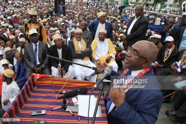 Former Comoros president and presidential candidate Azali Assoumani addresses his supporters during his first presidential elections campaign meeting...