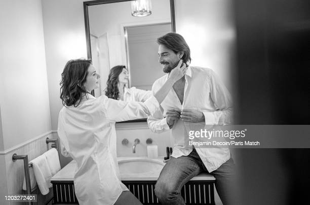 Former competitive swimmer Camille Lacourt and his partner Alice Detollenaere are photographed for Paris Match on February 14, 2020 in Paris, France.