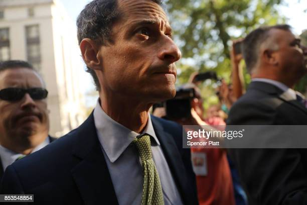 Former congressman Anthony Weiner arrives at a New York courthouse for his sentencing in a sexting case on September 25 2017 in New York City As part...