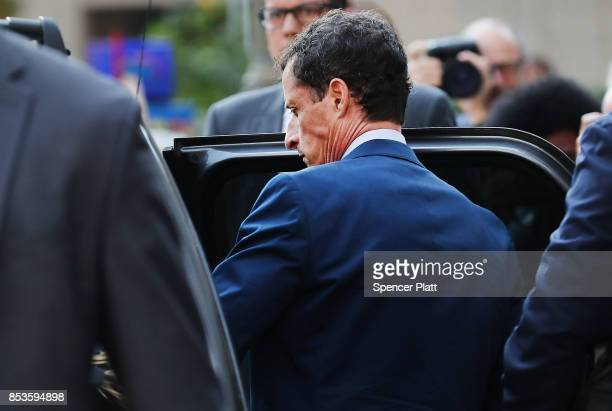 Former congressman Anthony Weiner leaves a New York courthouse after his sentencing in a sexting case on September 25 2017 in New York City As part...