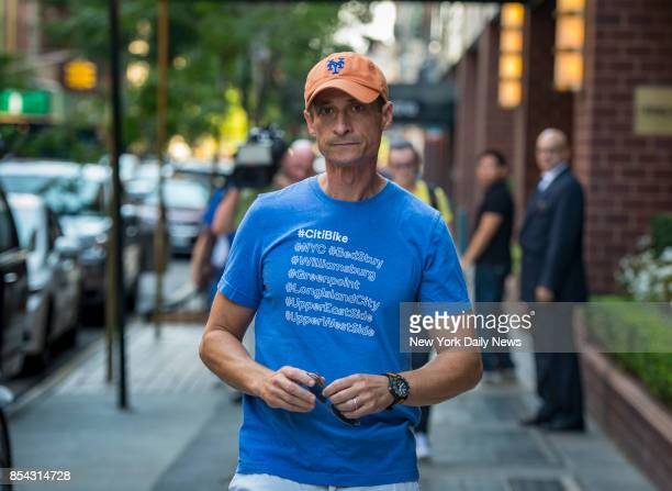 Former Congressman Anthony Weiner leaves his home in Manhattan on Monday September 25 2017 He was sentenced to 21 months in prison for sexting a minor