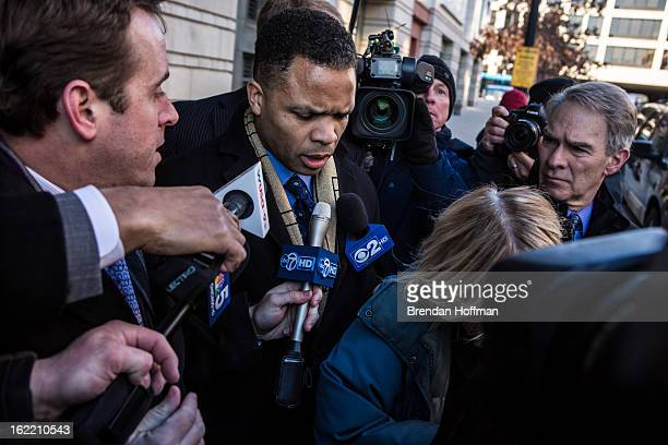 Former Congressman Jesse Jackson Jr leaves the US District Court for the District of Columbia on February 20 2013 in Washington DC Both Jacksons...