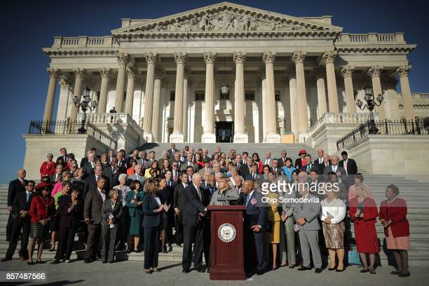 Former congresswoman and gun violence victim Gabby Giffords speaks during a rally with fellow Democrats on the East Front steps of the US House of...