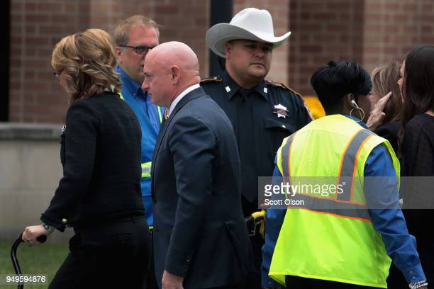 Former congresswoman Gabby Giffords and her husband Mark Kelly arrive for the funeral of former first lady Barbara Bush at St Martin's Episcopal...