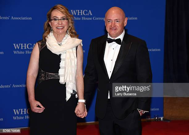 Former Congresswoman Gabrielle Giffords and former NASA astronaut Mark Kelly attend the 102nd White House Correspondents' Association Dinner on April...