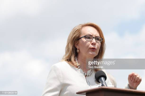Former Congresswoman Gabrielle Giffords delivers remarks during a press conference with Democratic Lawmakers on gun violence along the east front of...