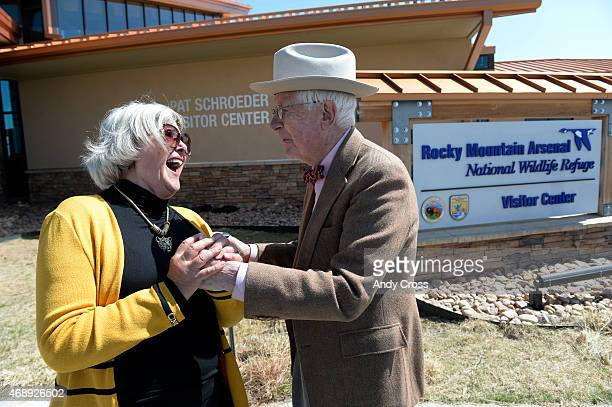 Former Congresswoman Pat Schroeder has a laugh with Ed Benton at the Rocky Mountain Arsenal National Wildlife Refuge Visitor Center April 08 2015 US...