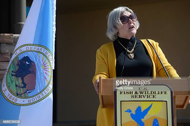 Former Congresswoman Pat Schroeder speaks at the Rocky Mountain Arsenal National Wildlife Refuge Visitor Center April 08 2015 US Representatives...