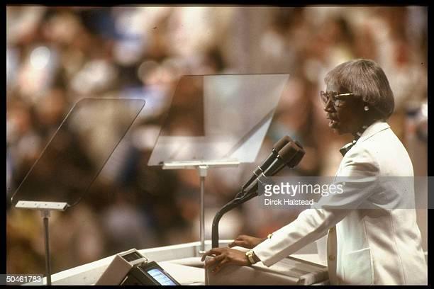 Former Congresswoman Shirley Chisholm addressing Dem Natl Convention
