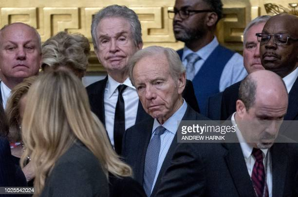 Former Connecticut Senator Joe Lieberman and actor Warren Beatty attend the ceremony homoring the late US Senator John McCain in the Rotunda of the...