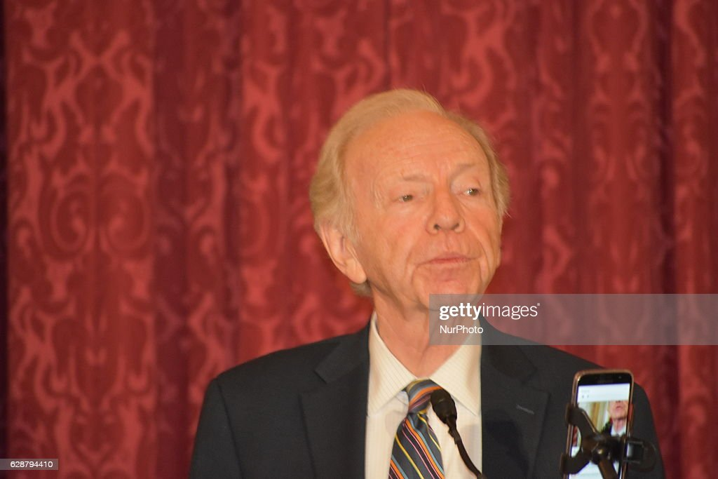 Former Connecticut Senator Joseph Lieberman address a briefing at the Senate Kennedy Caucus room, which address the new administrations policy on Iran. Senator Lieberman said that the U.S. must empower the Iranian people and stand with them as they strive for a free and democratic future. He also lauded the efforts of the Iranian opposition, the National Council of Resistance of Iran to bring democratic change to Iran. The briefing was organized by the Organization of Iranian American Communities in the U.S.