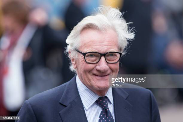 Former Conservative Cabinet Minister Michael Heseltine arrives at St Margaret's Church to attend the funeral for Tony Benn on March 27 2014 in London...