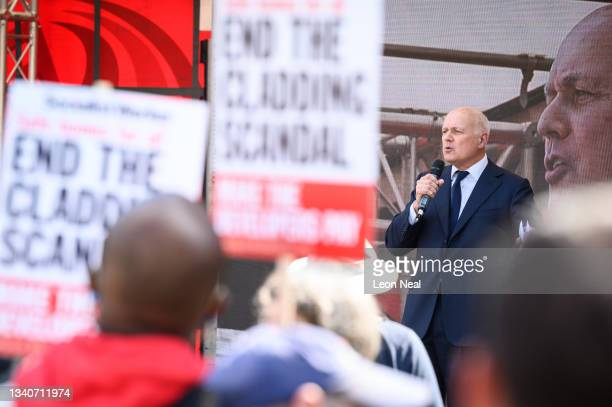 Former Conservative leader Iain Duncan Smith addresses campaign groups as they protest outside the Houses of Parliament, in Parliament Square on...