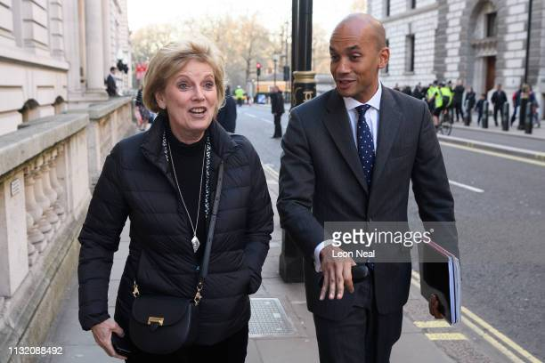 Former Conservative MP Anna Soubry and former Labour MP Chuka Umunna leave the inaugural meeting at the Institute of Civil Engineers on February 25...