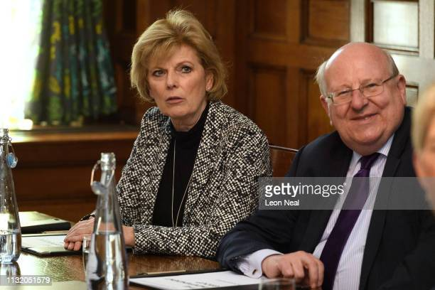 Former Conservative MP Anna Soubry and former Labour MP Mike Gapes sit with other members of the independent group of MPs as it holds its inaugural...
