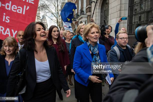 Former Conservative MP Anna Soubry leads Heidi Allen Sarah Wollaston and Joan Ryan as they arrive to a press conference to make a statement on their...