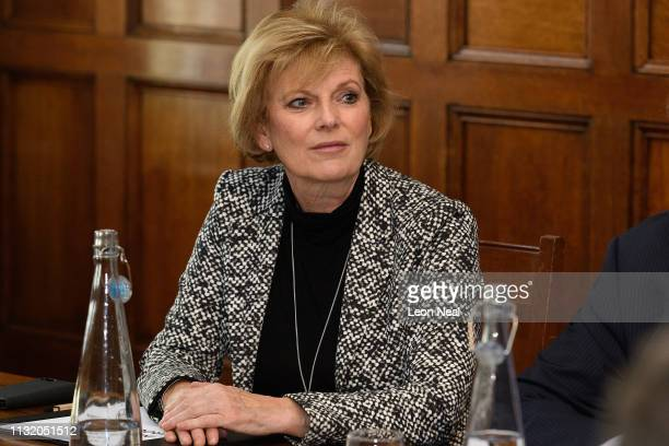 Former Conservative MP Anna Soubry sits with other members of the independent group of MPs as it holds its inaugural meeting at the Institute of...