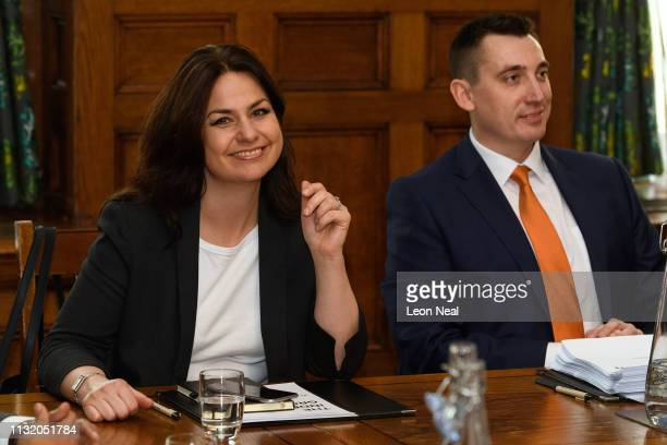 Former Conservative MP Heidi Allen and former Labour MP Gavin Shuker sit with other members of the independent group of MPs as it holds its inaugural...