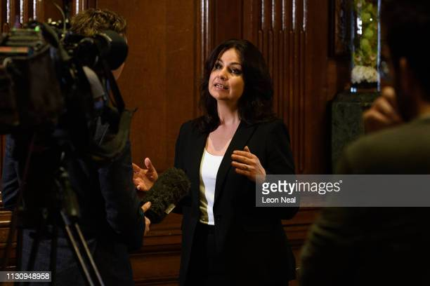 Former Conservative MP Heidi Allen is interviewed after a press conference regarding her resignation from the Conservative Party on February 20 2019...