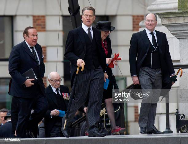Former Conservative MP Michael Portillo and former Sunday Times editor Andrew Neil attend the funeral service of Baroness Thatcher at St Paul's...