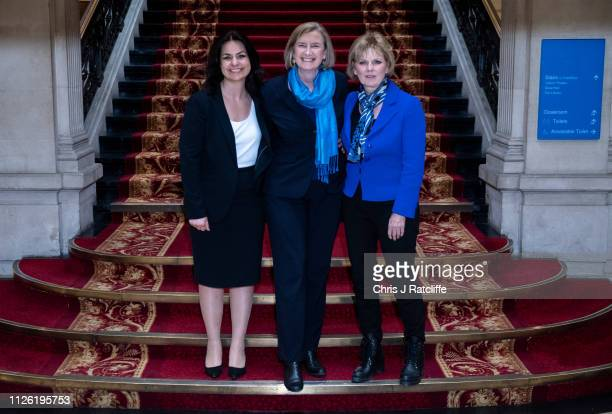 Former Conservative MP's Heidi Allen Sarah Wollaston and Anna Soubry pose for a photograph after making a statement on their resignations on February...
