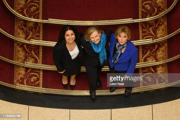 Former conservative MPs Heidi Allen Sarah Wollaston and Anna Soubry pose for a photograph after a press conference regarding their resignation from...