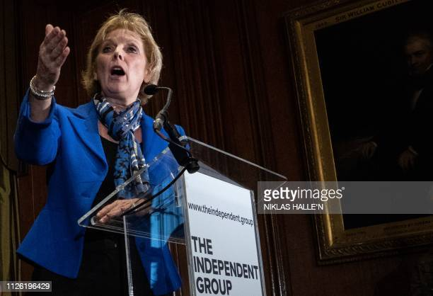 Former Conservative Party and now an Independent MP Anna Soubry speaks at a press conference in central London on February 20 2019 following her...