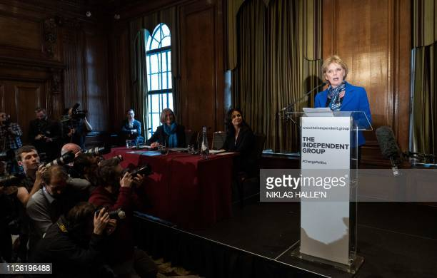 Former Conservative Party and now an Independent MP Anna Soubry speaks at a press conference with her colleagues Sarah Wollaston and Heidi Allen in...
