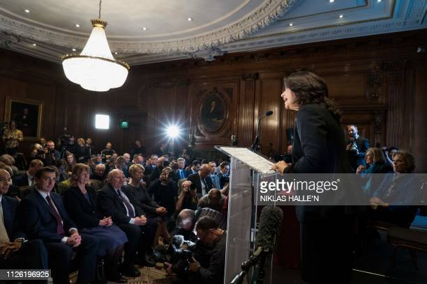 Former Conservative Party and now an Independent MP Heidi Allen speaks at a press conference with her colleagues Anna Soubry and Sarah Wollaston in...