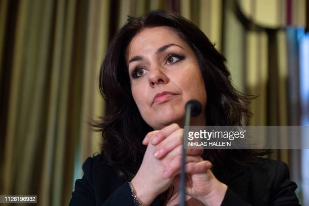 Former Conservative Party and now an Independent MP Heidi Allen speaks at a press conference in central London on February 20 2019 following her...