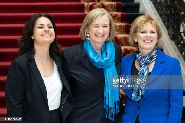 Former Conservative Party and now Independent MPs Heidi Allen Sarah Wollaston and Anna Soubry pose for a picture after a press conference in central...