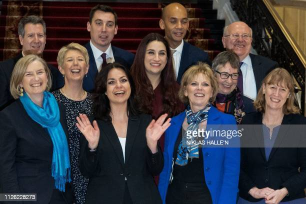 Former Conservative Party and now Independent MPs Sarah Wollaston Heidi Allen and Anna Soubry pose for a photograph with the former Labour Party...