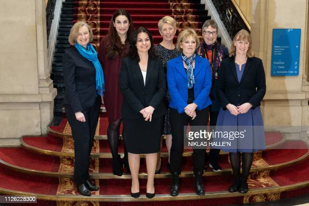 Former Conservative Party and now Independent MPs Sarah Wollaston Heidi Allen and Anna Soubry pose for a photograph with former Labour Party members...
