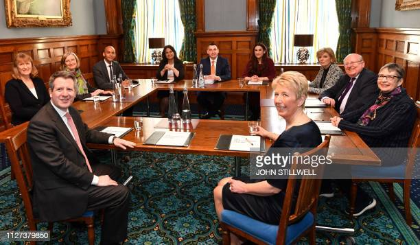 Former Conservative Party and now Independent MPs Sarah Wollaston Heidi Allen and Anna Soubry sit with their colleagues former Labour Party members...