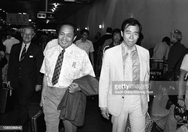 Former construction millionaire Paul Lee Polaw flanked by friends Joe Chow and K T Philcox leaves Kai Tak Airport for Abu Dhabiá 15OCT78