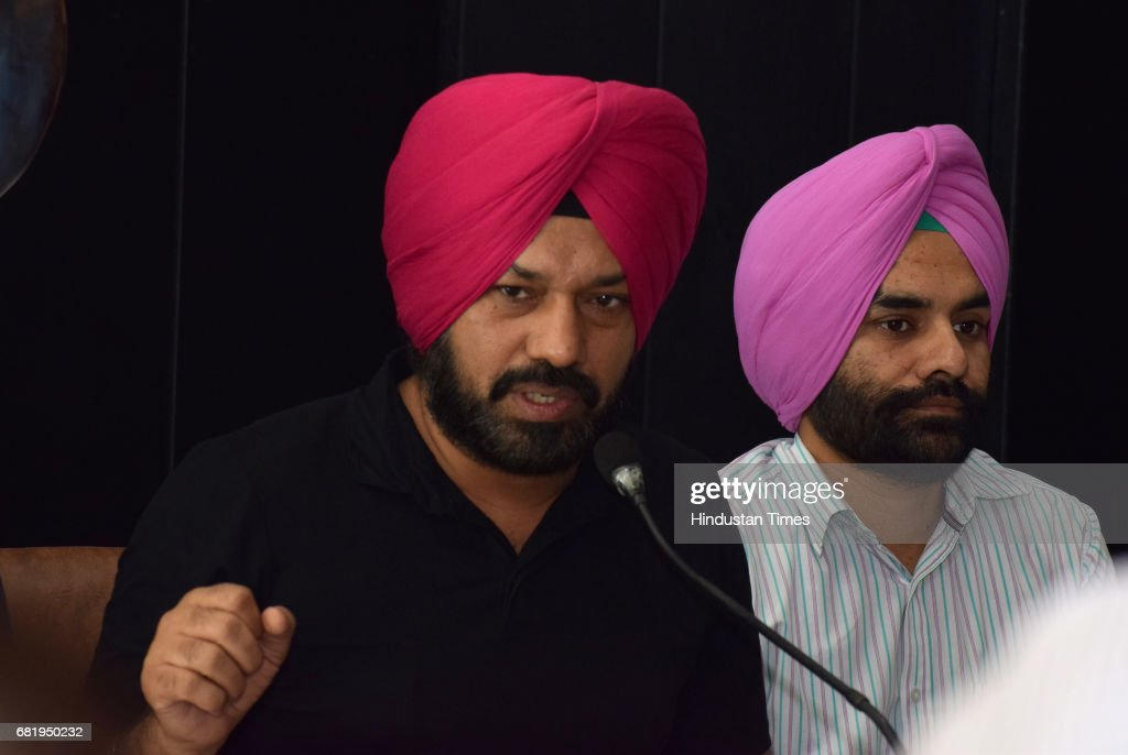 Former convenor of Punjab unit Aam Aadmi Party Gurpreet Singh Waraich addresses a press conference announcing his resignation from the party at Press.