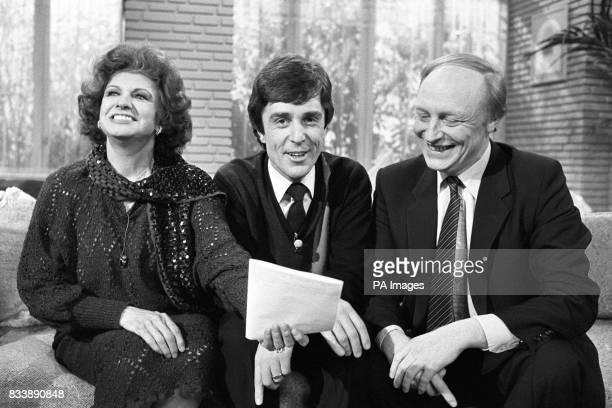 Former Coronation Street soap star Pat Pheonix with ITV's TVAM presenter John Stapleton and Labour leader Neil Kinnock appear it the studio to...