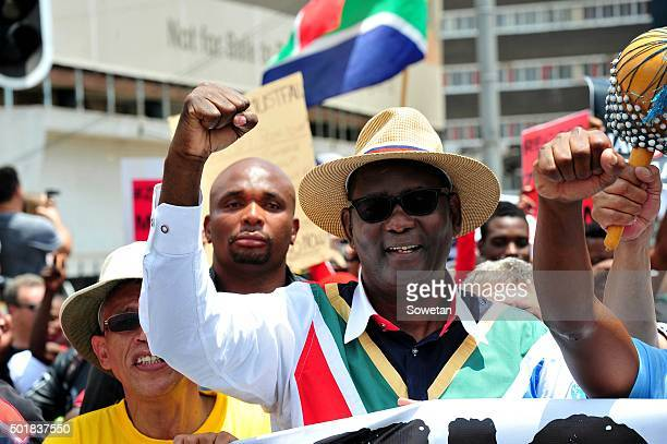 Former Cosatu general secretary Zwelinzima Vavi joins the Zuma Must Fall on December 16 2015 in Johannesburg South Africa Thousands of South Africans...