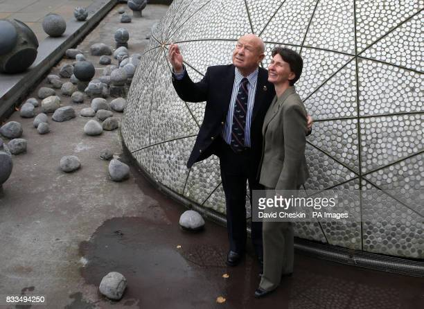 Former cosmonaut Alexei Leonov the first man to walk in space with the first UK woman in space Helen Sharman at the Sheraton Hotel Edinburgh to...